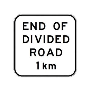 End of Divided Road 1km