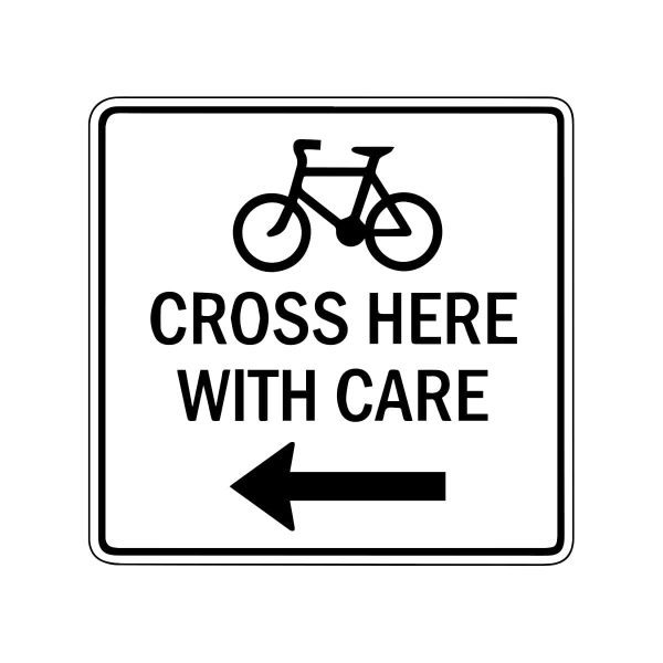 Bicycle Cross Here with Care